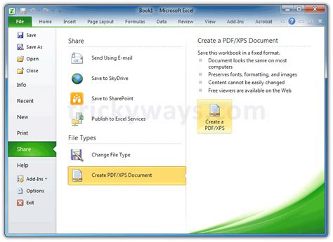 Save Excel File as PDF   create PDF From Excel