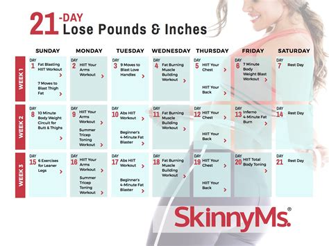 21-Day Lose Pounds & Inches Calendar