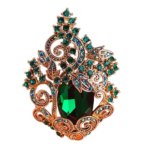 Funmor Retro Green Large Peacoke Crystal Brooches Vintage