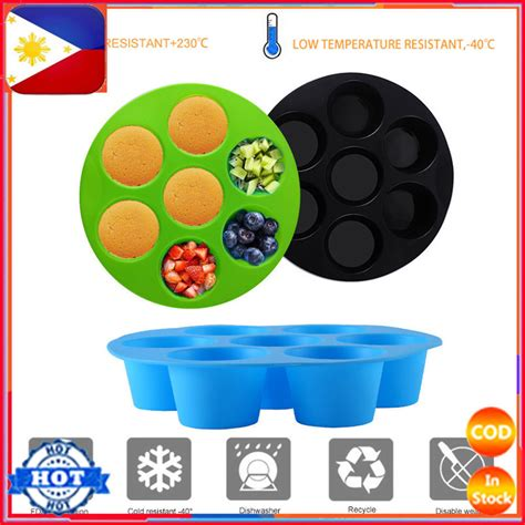 Food Grade Silicone 7 Hole Round Mold Cake Grid Egg Steam