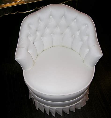White Cotton Upholstered Vanity Chair with Pleated Skirt