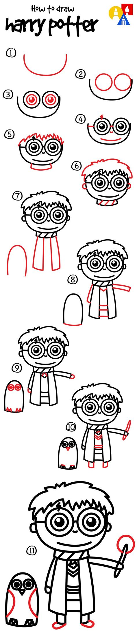 How To Draw A Cartoon Harry Potter And Hedwig - Art For
