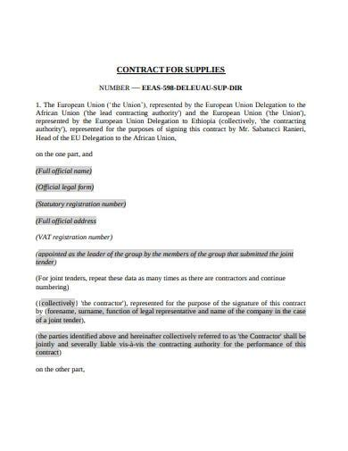 10+ Supply Contract Templates - Google Docs, Word, Pages