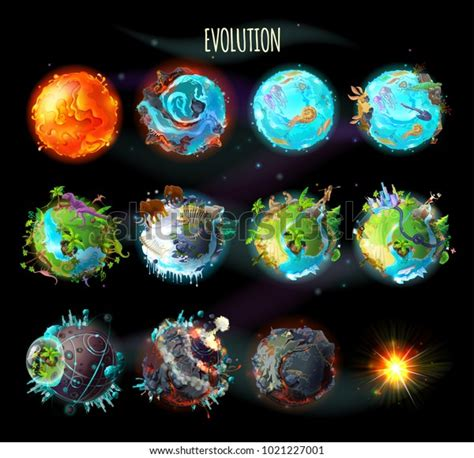 Stages Origin Life On Earth Evolution Stock Vector