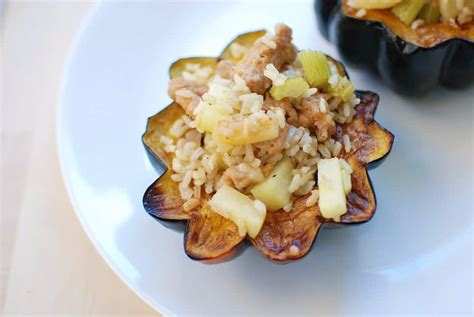 Sausage and Apple Stuffed Acorn Squash - Snacking in Sneakers