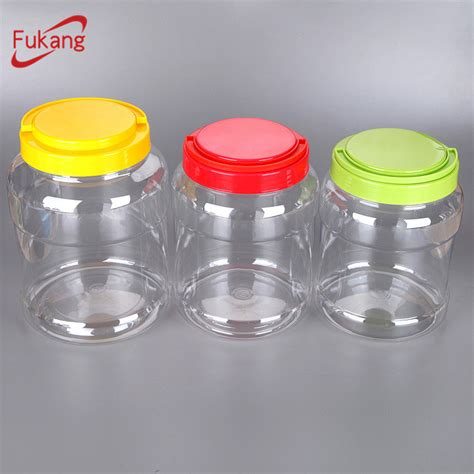 3500ml Transparent Large Plastic Candy Jar With Handle Lid
