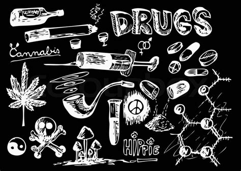 Hand drawn drugs isolated on the white background   Stock