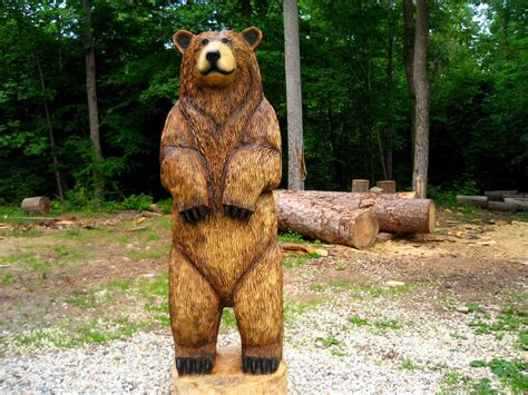 6-foot Brown Bear Chainsaw Wood Sculpture by