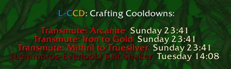 WoW Lemmo's Craft Cooldown addon Shadowlands/classic 2021