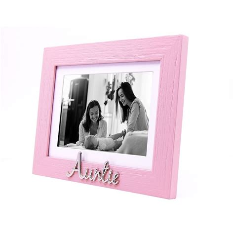 Pink Woodgrain Effect Auntie Picture Frame with Silver