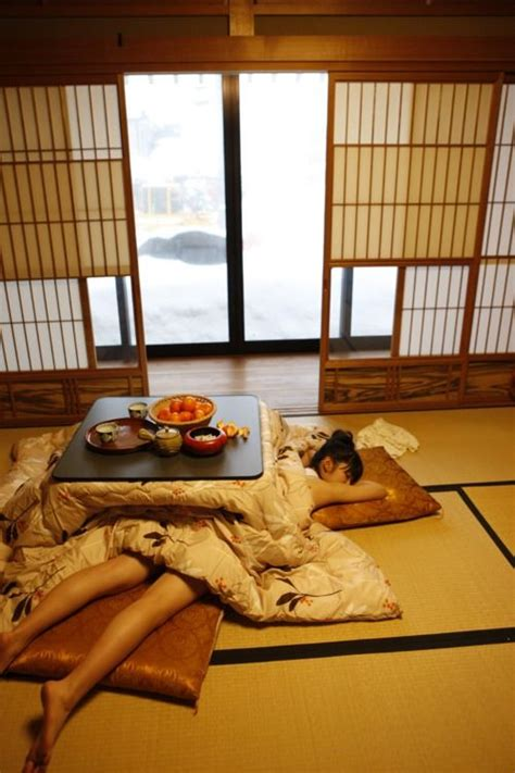 napping under the kotatsu ( electric heater-table) / Japan
