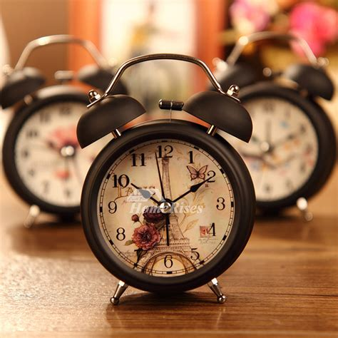 Small Alarm Clock White/Black Metal Battery Operated