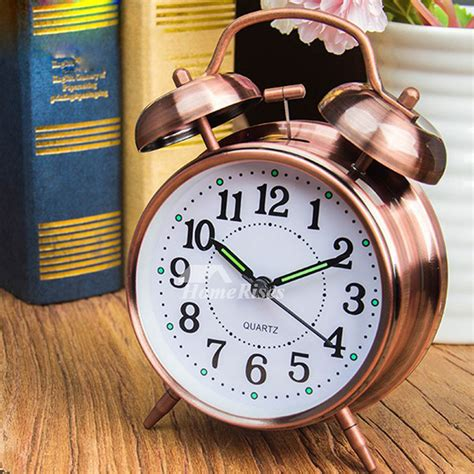 Battery Operated Alarm Clock Metal Green/White/Blue Silent