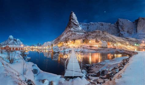nature, Landscape, Winter, Snow, Lake, Night, Hill, Norway