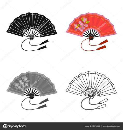 Folding fan icon in cartoon style isolated on white